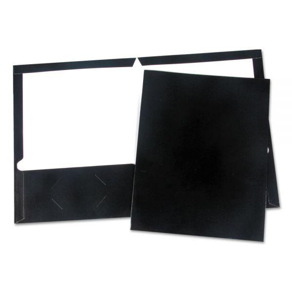 Universal Laminated Two-Pocket Folder, Cardboard Paper, Black, 11 x 8 1/2, 25/Box
