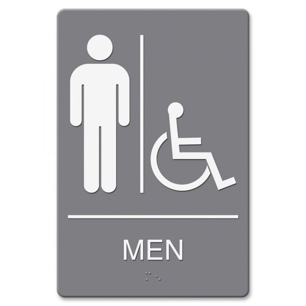 "Headline Signs Wheelchair Accessible ""Men"" Restroom Sign"