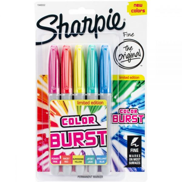 Color Burst Permanent Markers Fine 5/Pkg