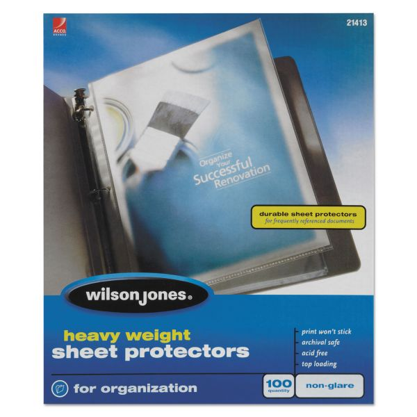 Wilson Jones Top Loading Non-Glare Sheet Protectors