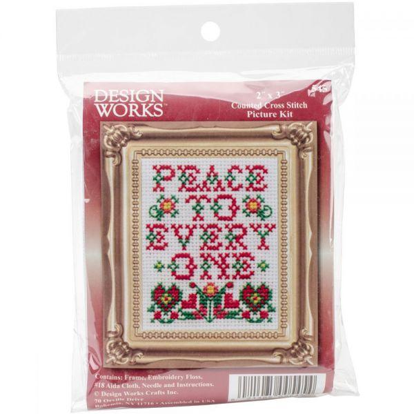 Peace W/Frame Mini Counted Cross Stitch Kit
