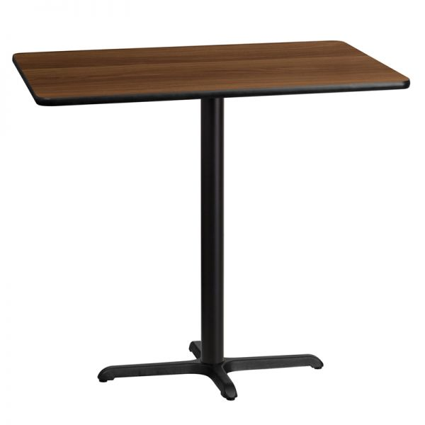 Flash Furniture 30'' x 45'' Rectangular Walnut Laminate Table Top with 22'' x 30'' Bar Height Table Base