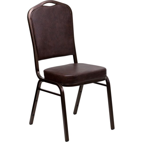 Flash Furniture HERCULES Series Crown Back Stacking Banquet Chair with Brown Vinyl and 2.5'' Thick Seat - Copper Vein Frame