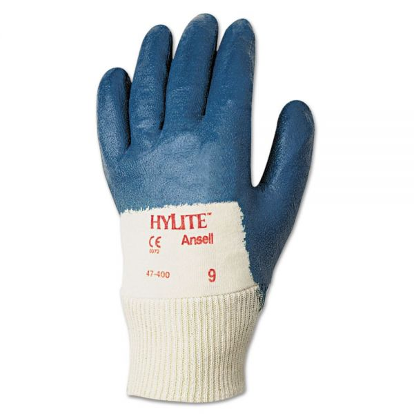 AnsellPro Hylite Palm Coated Multi-Purpose Gloves, Blue/White, Size 9, 12 Pairs