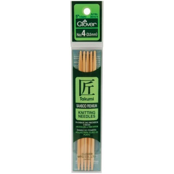 "Takumi Bamboo Double Point Knitting Needles 5"" 5/Pkg"
