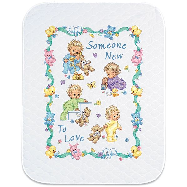 Dimensions Baby Hugs Someone New Quilt Stamped Cross Stitch Kit
