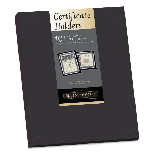 Southworth Certificate Holder, Black, 105lb Linen Stock, 12 x 9 1/2, 10/Pack