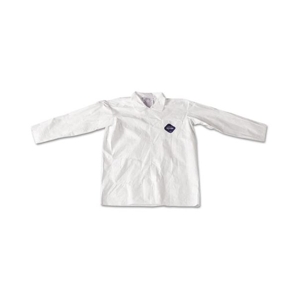 DuPont Tyvek Lab Coat, White, Snap Front, 2 Pockets, Large, 30/Carton