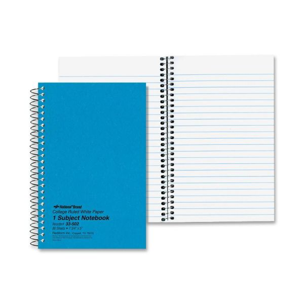 National Subject Wirebound Notebook, College Rule, 7 3/4 x 5, White, 80 Sheets