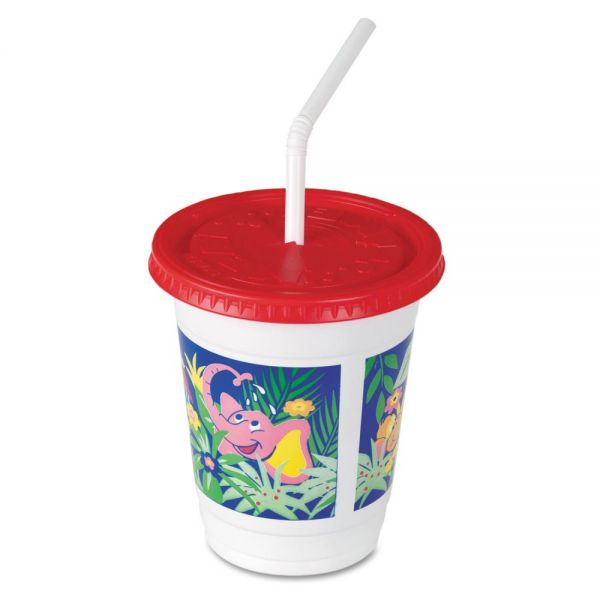 SOLO Cup Company 12 oz Plastic Kids' Cups w/ Lids & Straws