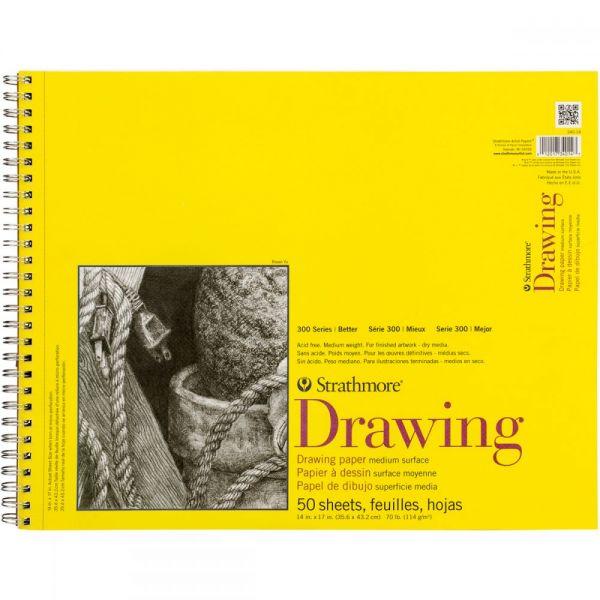 "Strathmore Medium Drawing Spiral Paper Pad 14""X17"""