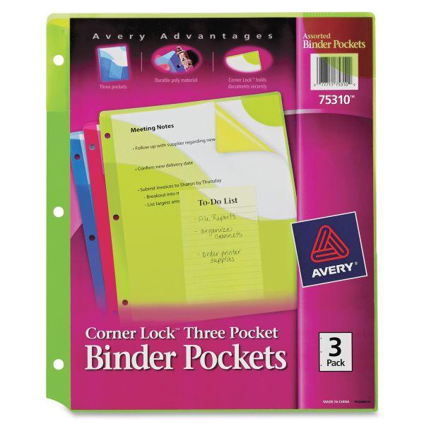 Avery Corner Lock Three-Pocket Binder Pocket, 11 1/4 x 9 1/4, Assorted Color, 3/Pack