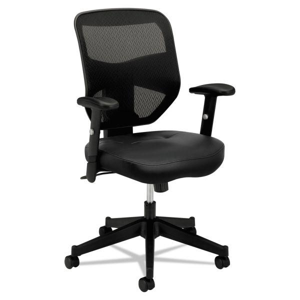HON VL531 Series High-Back Work Chair, Mesh Back, Padded Mesh Seat, Black Leather