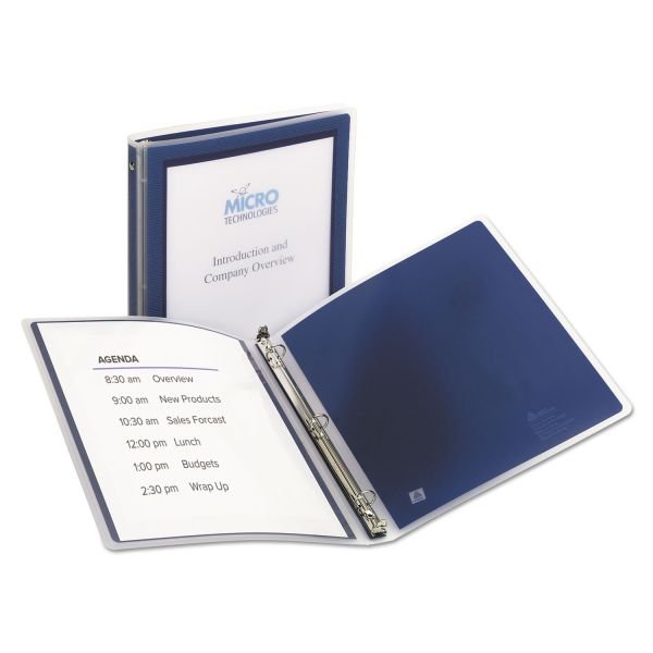 "Avery Flexi-View Binder w/Round Rings, 11 x 8 1/2, 1/2"" Cap, Navy Blue"