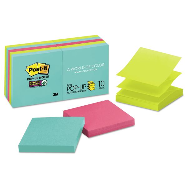 Post-it Pop-up Notes Super Sticky Pop-up 3 x 3 Note Refill, Miami, 90 Notes/Pad, 10 Pads/Pack