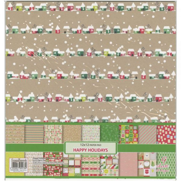 """ScrapBerry's Happy Holiday Paper Pack 12""""X12"""" 9/Pkg"""