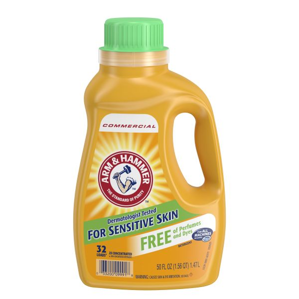 Arm & Hammer HE Compatible Liquid Detergent, Unscented, 50oz Bottle, 8/Carton