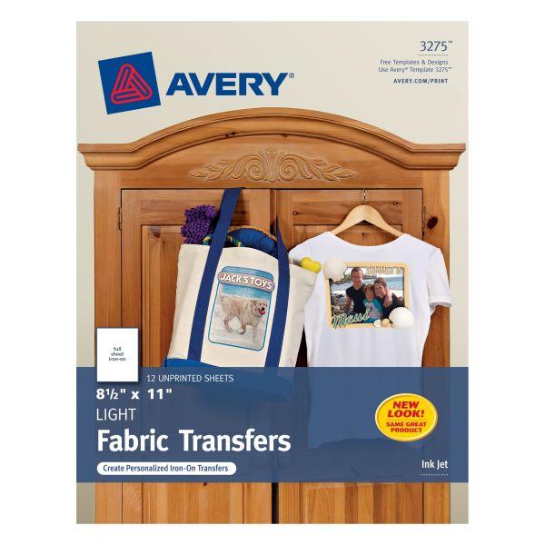 Avery Light Fabric Transfers for Inkjet Printers, 8 1/2 x 11, White, 12/Pack