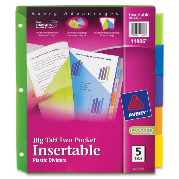 Avery Plastic Two-Pocket Insertable Tab Index Dividers