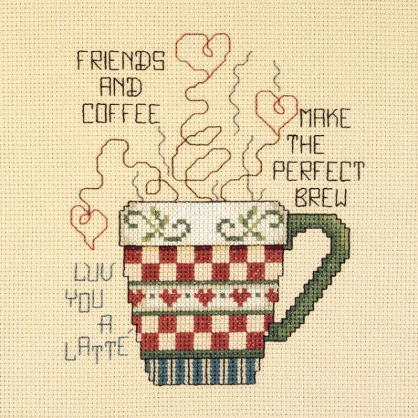 Friends And Coffee Mini Counted Cross Stitch Kit