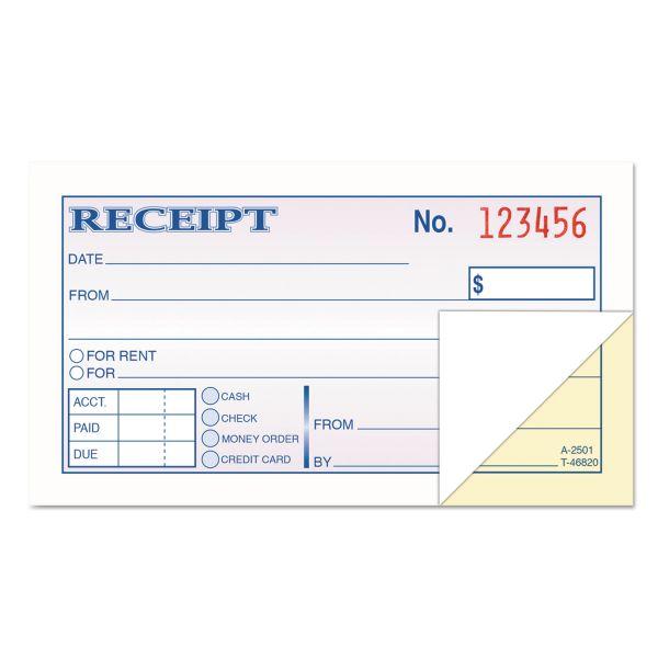 TOPS Money and Rent Receipt Books, 2-3/4 x 4 7/8, 2-Part Carbonless, 50 Sets/Book