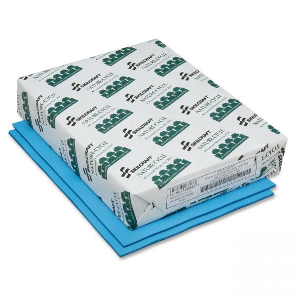 SKILCRAFT Recycled Colored Paper - Neon Blue
