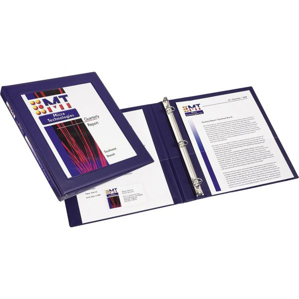 "Avery Framed View Heavy-Duty 3-Ring View Binder, 1/2"" Capacity, Slant Ring, Navy Blue"