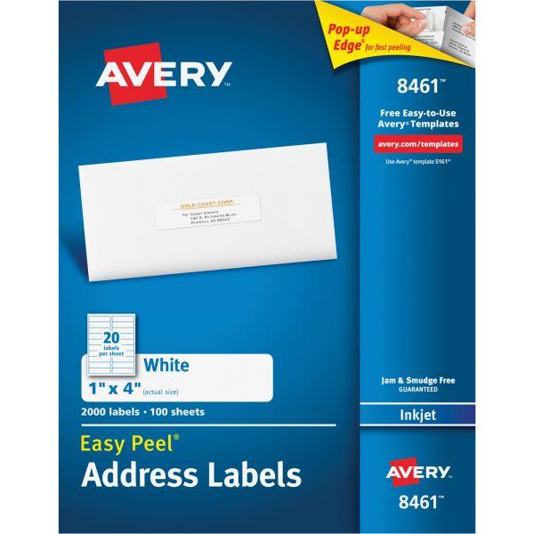 Avery Easy Peel Mailing Address Labels, Inkjet, 1 x 4, White, 2000/Box