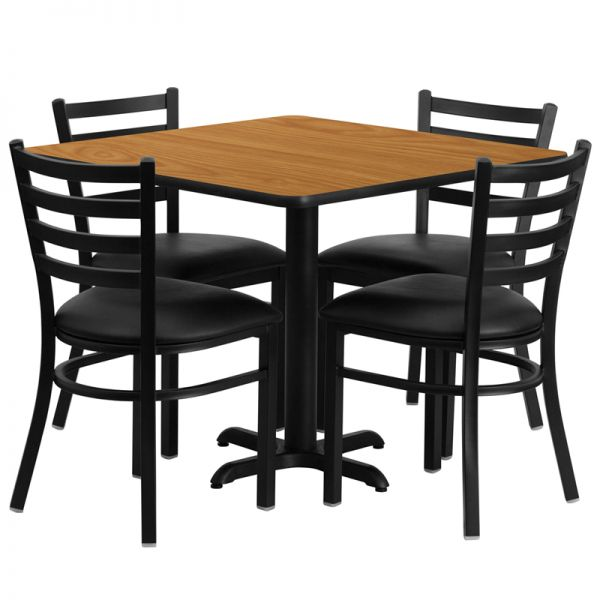 Flash Furniture 36'' Square Natural Laminate Table Set with 4 Ladder Back Metal Chairs - Black Vinyl Seat