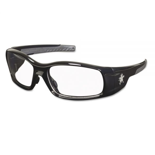 Crews Swagger Safety Glasses, Black Frame, Clear Lens