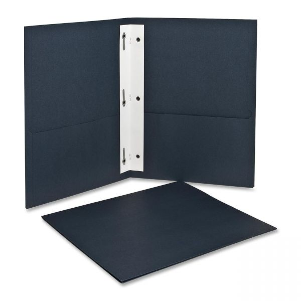 Oxford Dark Blue Two Pocket Folders with Fasteners