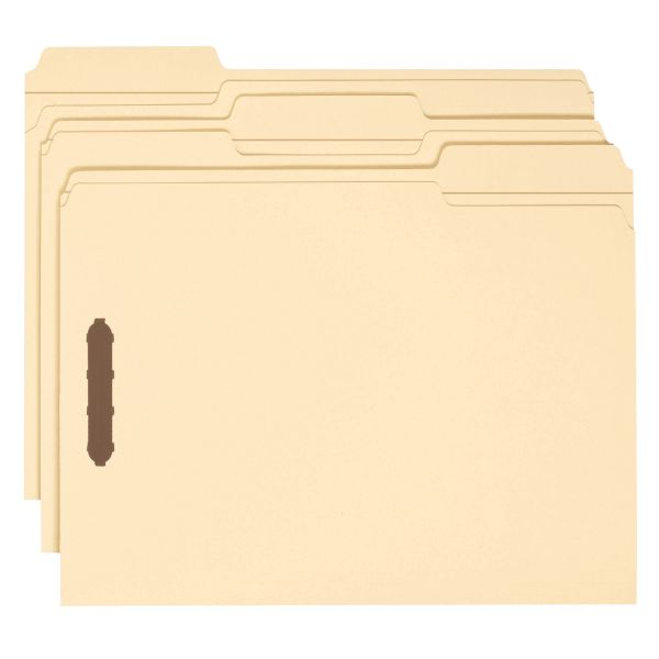 Smead 100% Recycled Manila File Folders With Fasteners