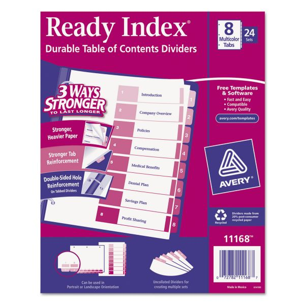 Avery Ready Index 8-Tab Numbered Dividers With Table Of Contents Page
