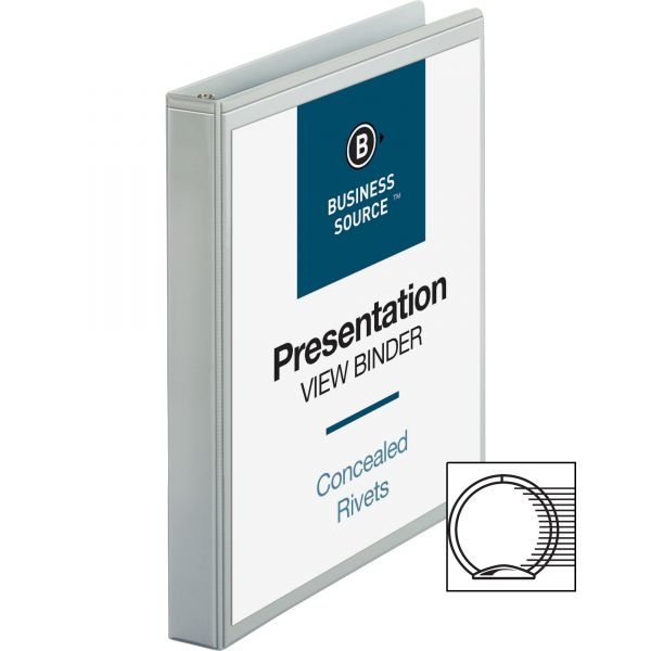 """Business Source Standard 1"""" 3-Ring View Binder"""