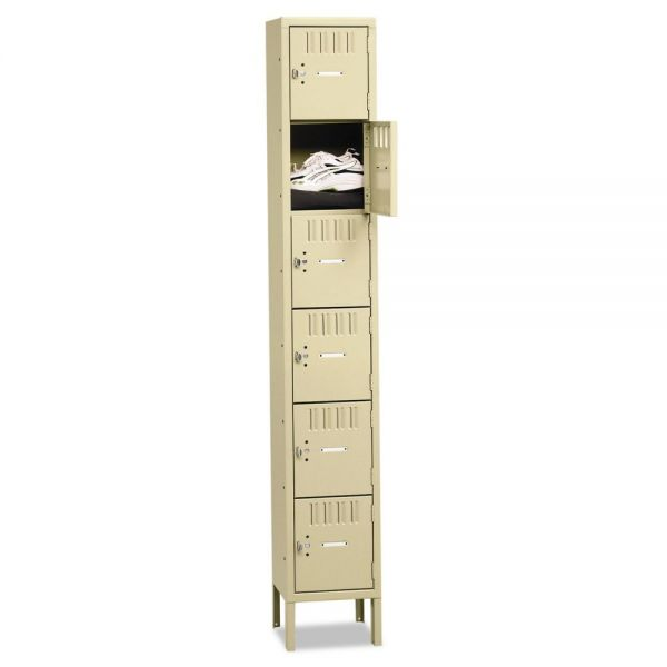 Tennsco Box Compartments with Legs, Single Stack, 12w x 18d x 78h, Sand