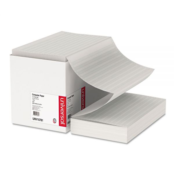 Universal Green Bar Computer Paper, 18lb, 14-7/8 x 8-1/2, Perforated Margins, 2800 Sheets