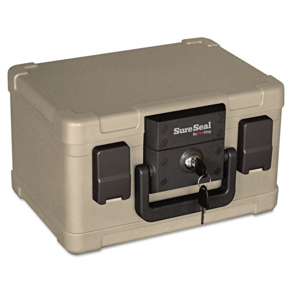 SureSeal By FireKing Fire and Waterproof Chest, 0.15 cu. ft., 12 1/5w x 9 4/5d x 7 3/10h, Taupe