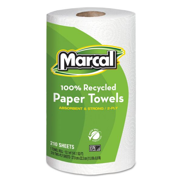 Marcal 100% Recycled Roll Paper Towels, 8 3/4 x 11, 2-Ply, White, 210 Sheets/Roll, 12 Rolls/Carton