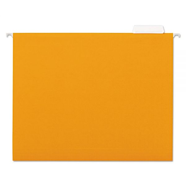 Universal Hanging File Folder, 1/5 Tab, Letter, Orange, 25/BX