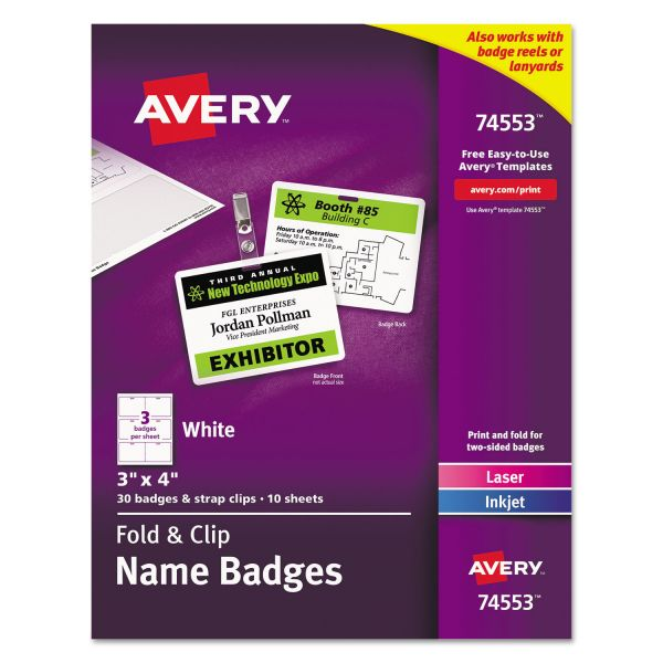 Avery Double-Sided Clip-On Name Badges