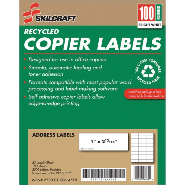 SKILCRAFT Recycled Address Labels