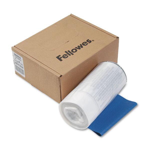 Fellowes Shredder Waste Bags, 9 gal Capacity, 100/CT