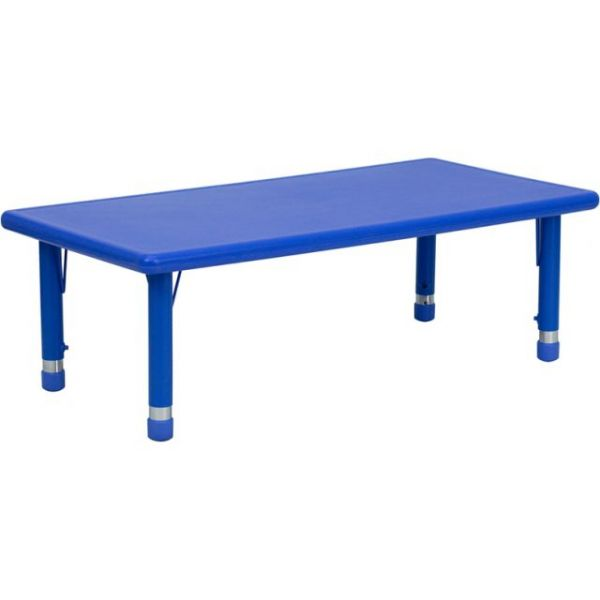 Flash Furniture 24''W x 48''L Height Adjustable Rectangular Blue Plastic Activity Table [YU-YCX-001-2-RECT-TBL-BLUE-GG]