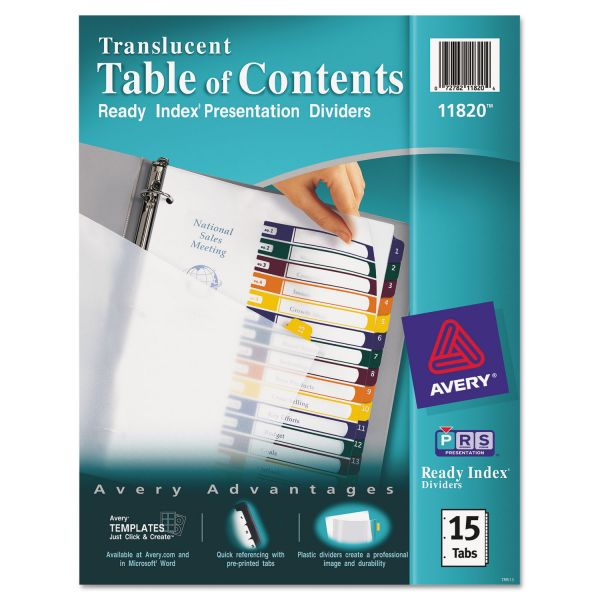 Avery Translucent Ready Index 15-Tab Numbered Dividers With Table Of Contents Page