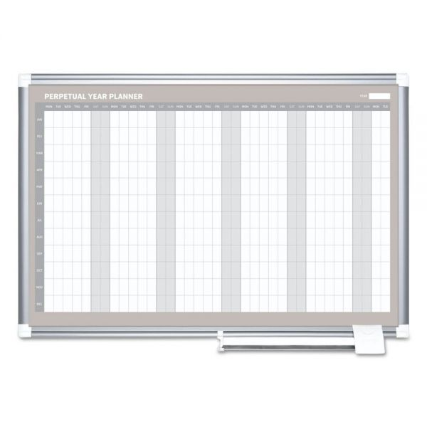 MasterVision MasterVision Planning Board, 12 Month Calendar, 36x48, White/Silver