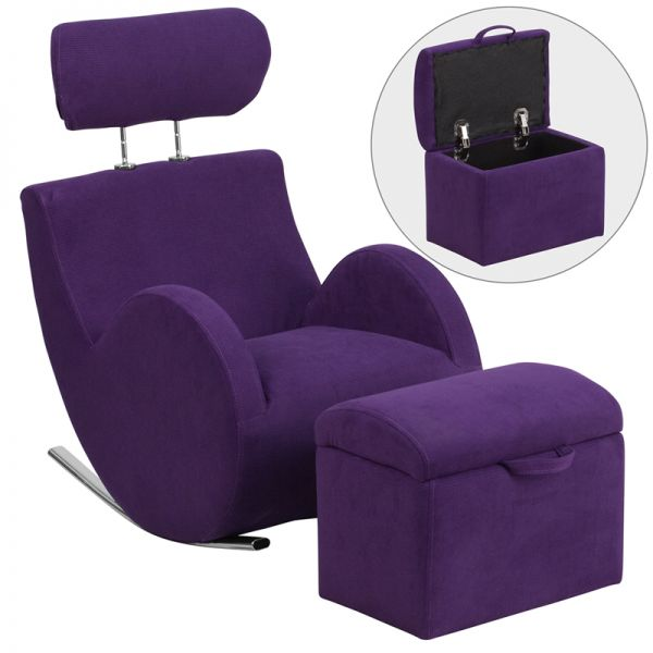 Flash Furniture HERCULES Series Purple Fabric Rocking Chair with Storage Ottoman