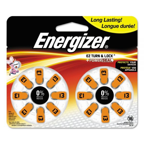 Energizer Hearing Aid Battery, Zero Mercury Coin Cell, 13, 1.4V