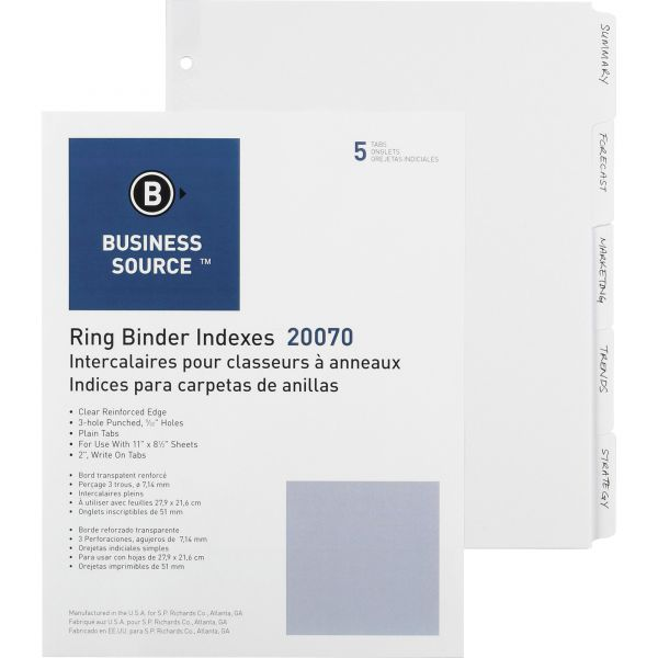Business Source Plain Tab Index Dividers