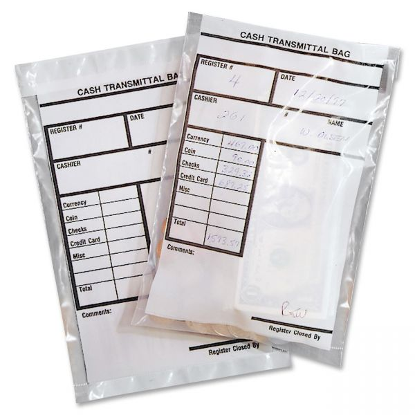 Cash transmittal bags, self-sealing w/permanent adhesive, 6 x 9, clear, 500/box