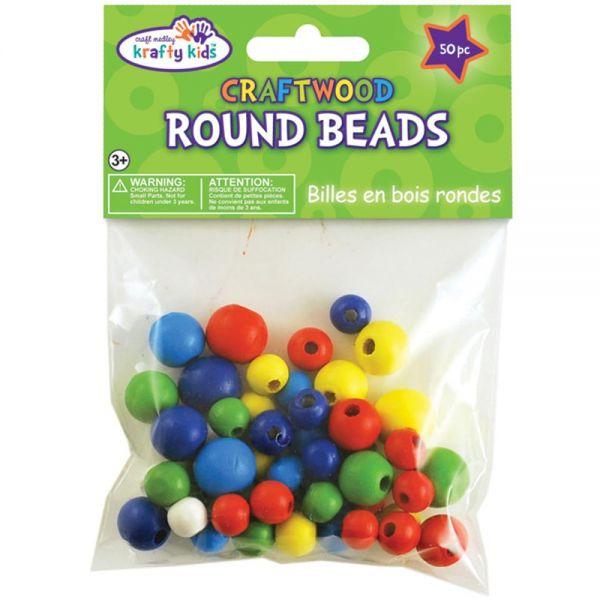 Krafty Kids Craftwood Round Beads